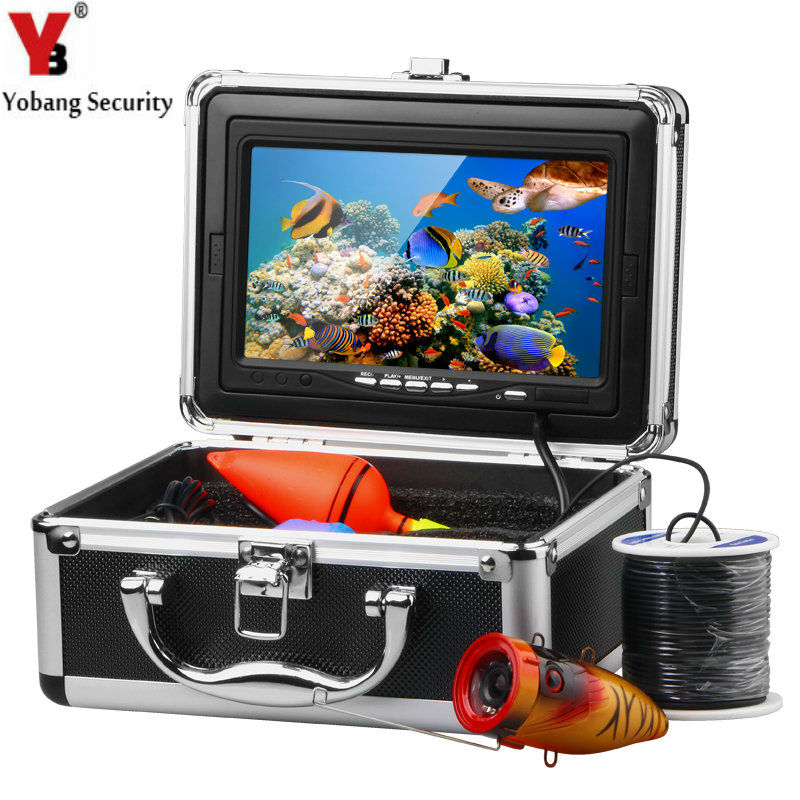 YobangSecurity HD 1000TVL Professional Underwater Fishing Camera Fish Finder Video Recorder DVR 7Inch white IR LED lights 2 4g wireless fish finder underwater fishing camera video free soft app 50m underwater breeding monitoring for fish searching