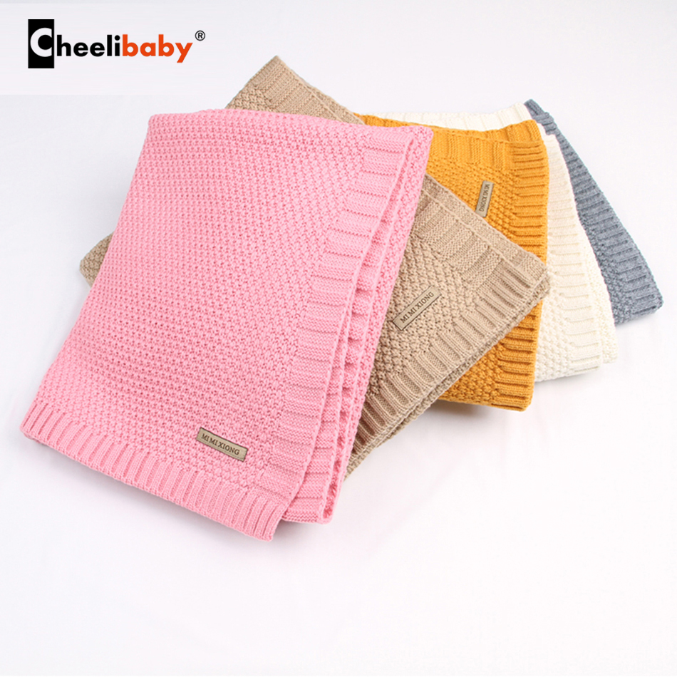 0-2T Acrylic Knitted Swaddle Wrap Muslin Blankets Super Soft Toddler Winter Autumn Sleeping Bedding Carseat Cover Baby Bunny