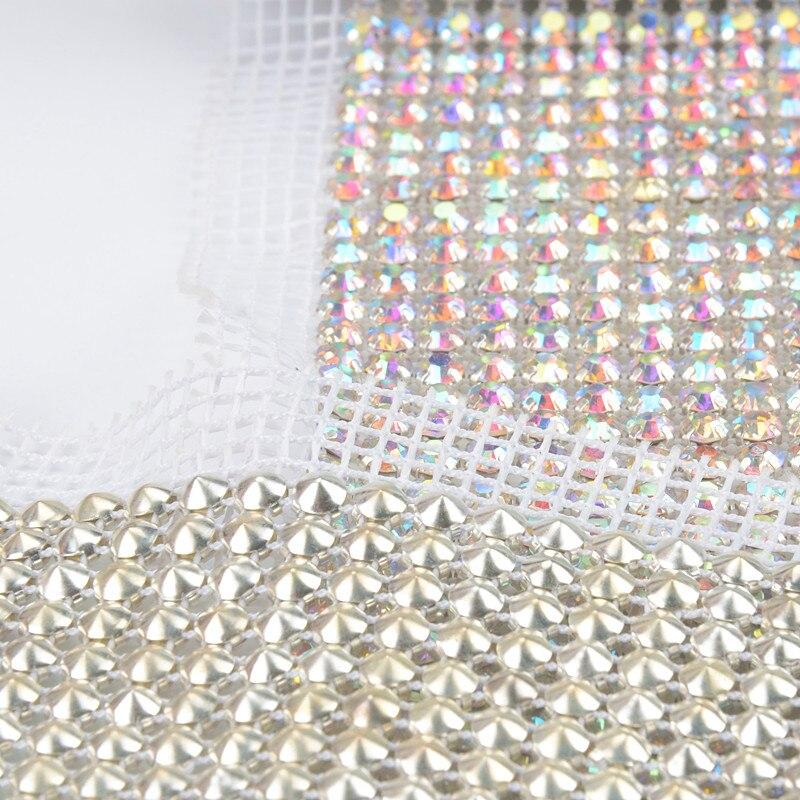 Livraison gratuite DHL! 24 rangées AB couleur cristal strass maille coupe chaîne argent base blanc tissu bricolage couture dentelle 5 yards/rouleau