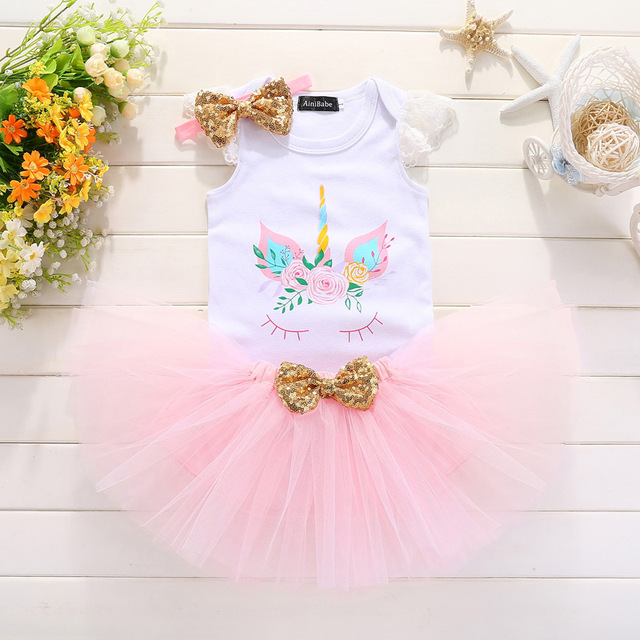 Summer Baby Girl 1st Birthday Sets Unicorn Party Shower Gift Tutu Princess Pink Cake Smash