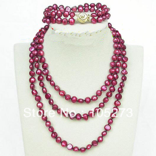 New Arriver Pearl Jewelry Set Long 48 & 8 8-9mm Baroque Shaper Wine Red Natural Pearl Necklace Bracelet Wholesale Free Ship