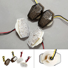 2Pcs 12V Motorcycle Turn Signal Light Clear Smoke Fit For Suzuki Motorcycles with 10mm mounting bolt