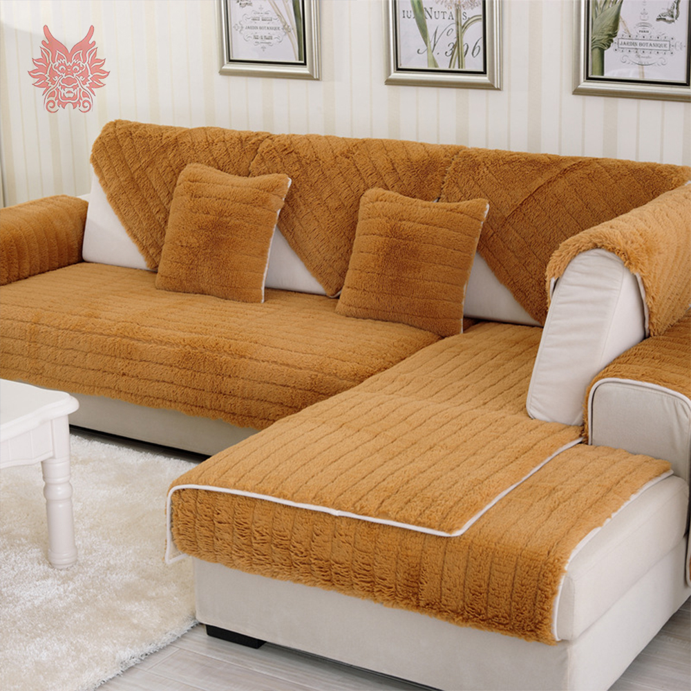 Modern style camel green long fur Sofa cover plush