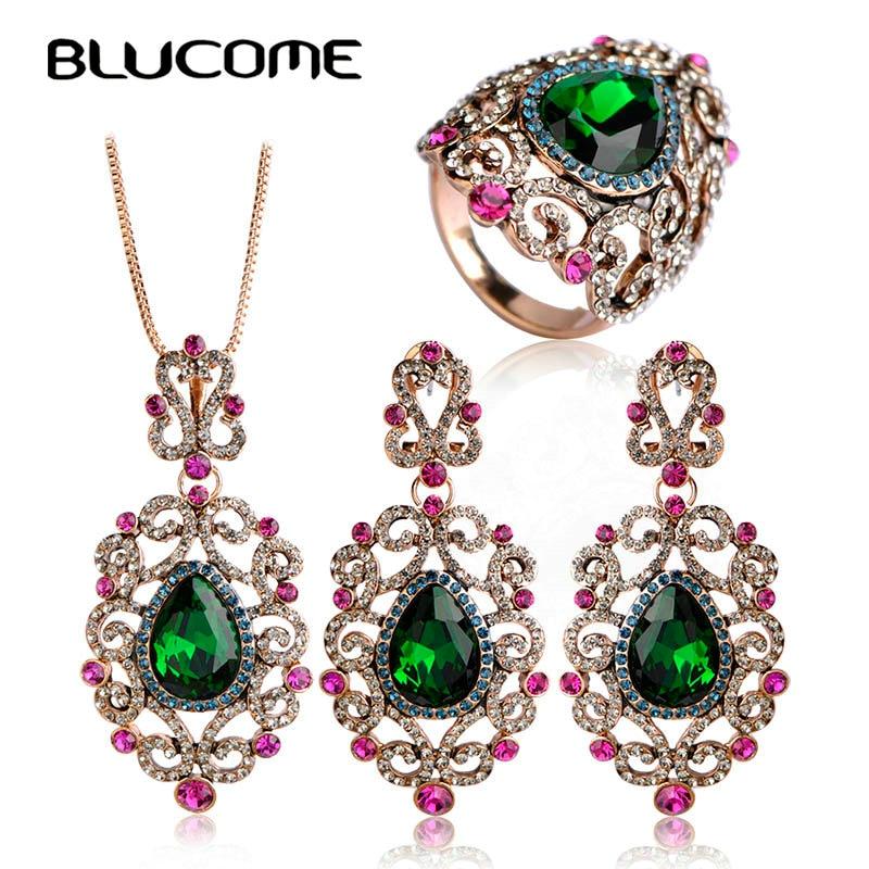 Blucome Turkish Jewelry Sets Full Crystal Rhinestone Flower Pendant Princess Hooks Vintage Necklace Earring Rings Sets