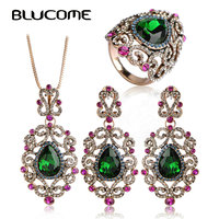 Blucome Turkish Jewelry Sets Full Crystal Rhinestone Flower Pendant Princess Hooks Vintage Necklace Earring Rings Sets For Women