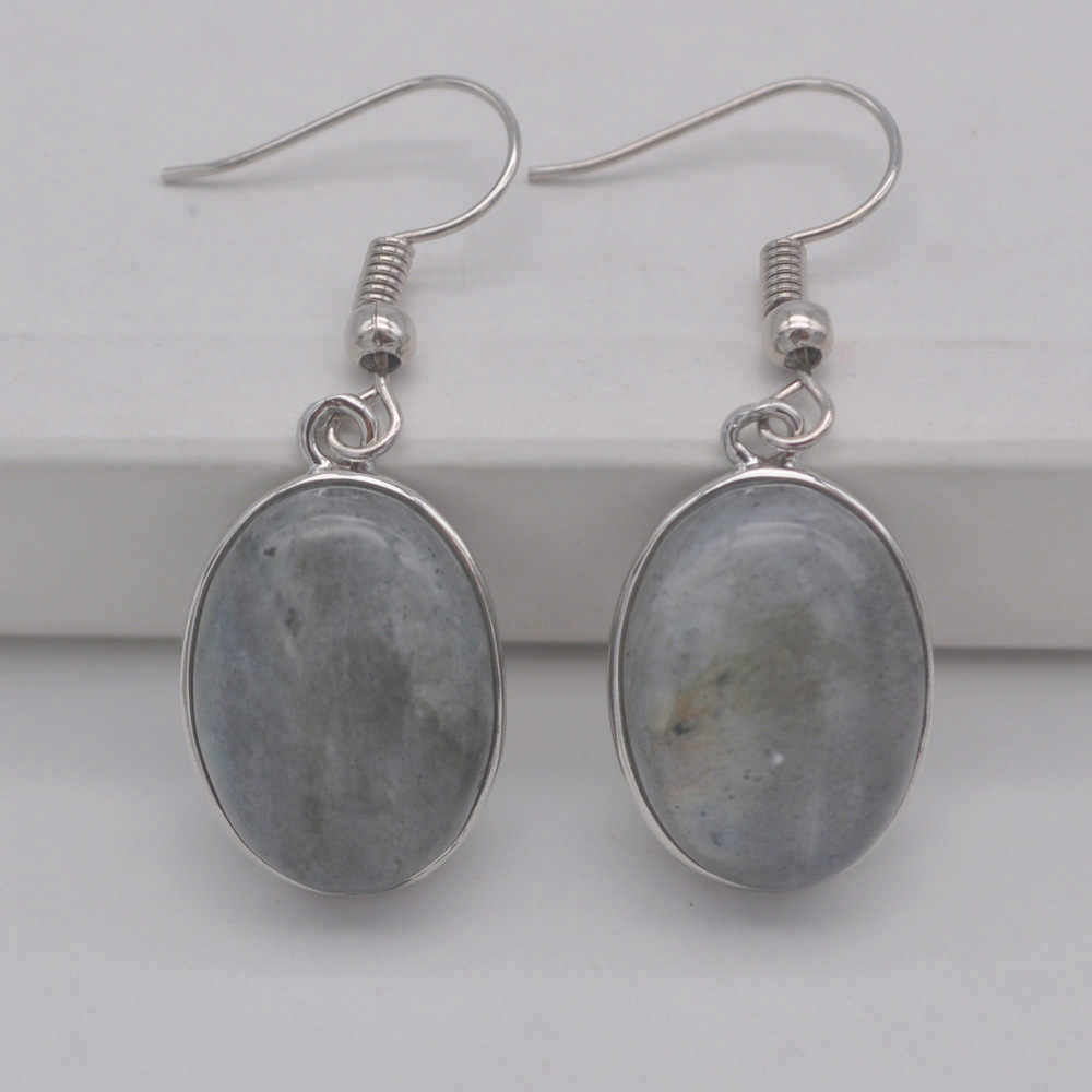 Labradorite Stone Oval Beads GEM Dangle Earrings Jewelry For Gift T238