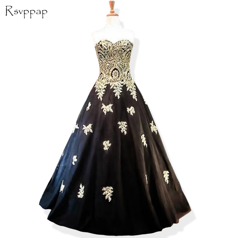 Long Evening Dress 2018 Ball Gown Sweetheart Gold Lace