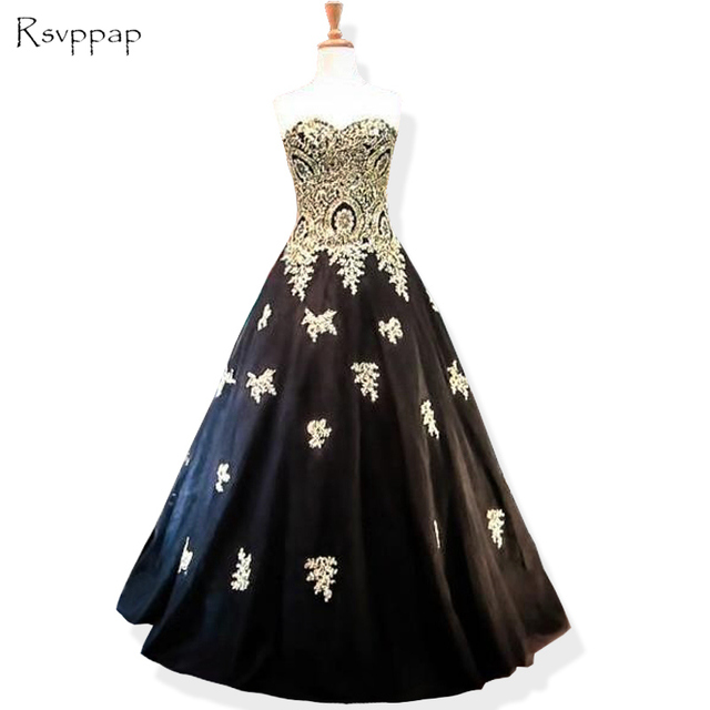 5312f8d2b Long Evening Dress 2019 Ball Gown Sweetheart Gold Lace Women Formal Dresses  Black Arabic Style Evening Gowns