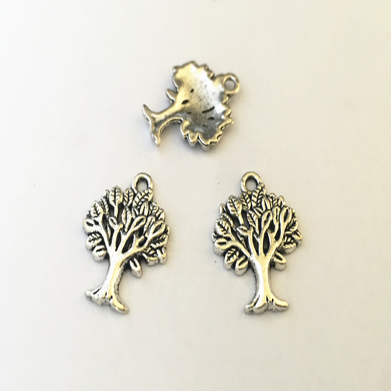 Jewelry Sets & More 10pcs/lot 17mmx21mm Antique Silver Tree Pendant Charms Necklace Pendant Mini Pendant Connector Charms Spare No Cost At Any Cost Jewelry & Accessories