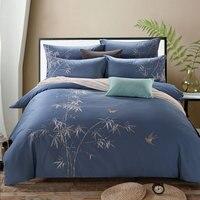 Luxury cotton bedding set 4pcs bedclothes Embroidery bedlinen queen king size Quilt duvet cover sets bedsheets cotton bedcover