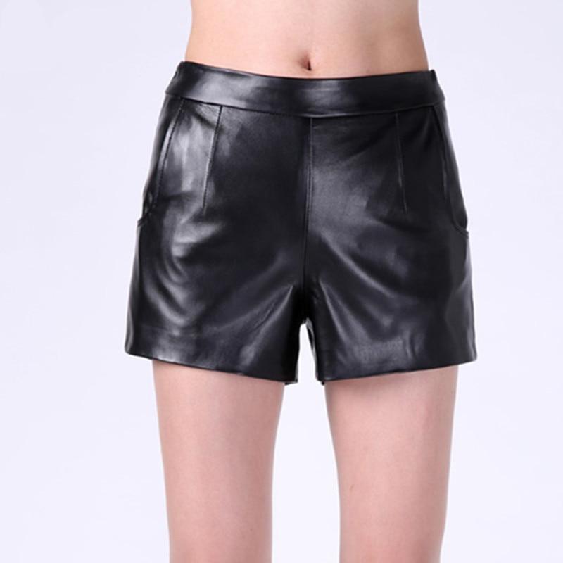 Noir Poches Plus Solide De La Régulières 2018 Femmes Shorts Marque Sexy Luxe Véritable Mode Short En Taille Cuir Mi Mini gq8UOqz