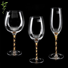 wedding decoration Golden Household Red Wine Cup Decorative Crystal Glass High Foot Colored Champagne  Creative