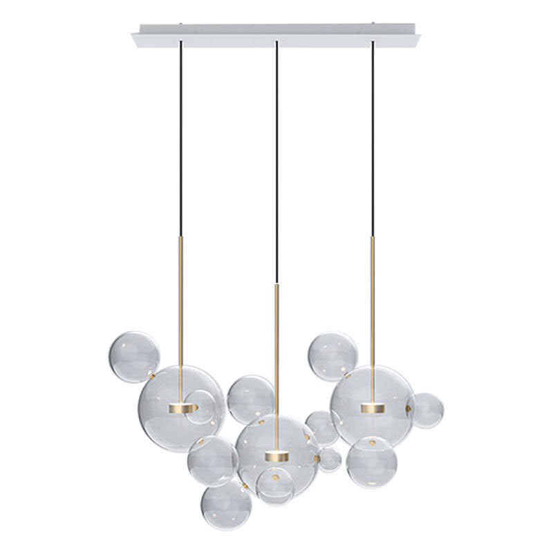 Post Modern Bolle Lamp Led Pendant Light Clear Glass Bubble Ball droplight Fixtures Indoor Lighting Lustre luminaria Hang Lamp 15 19 25 37 heads droplight clear bubble ball goose egg birds eggs duck egg double deck glass ball transparent pendant light