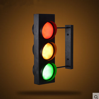 Industrial Wind Creative Retro Restaurant Cafe Bar Double Sided LED Traffic Light Caution Wall Lamp