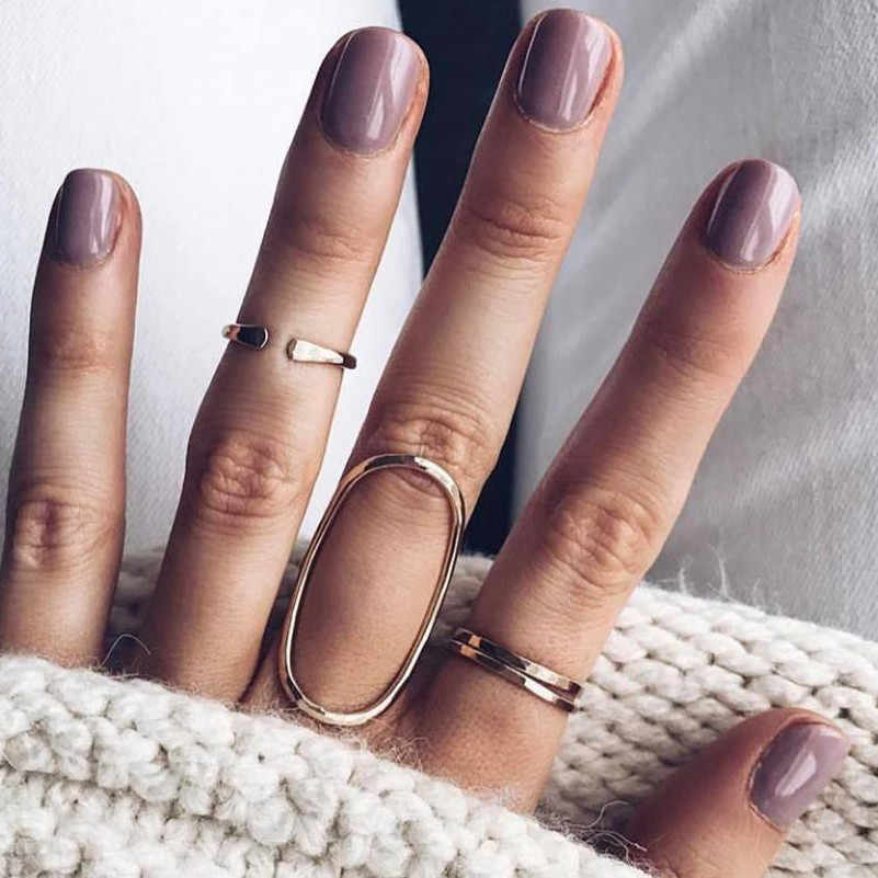 2019 new fashion European and American popular personality geometric hollow four-piece ring