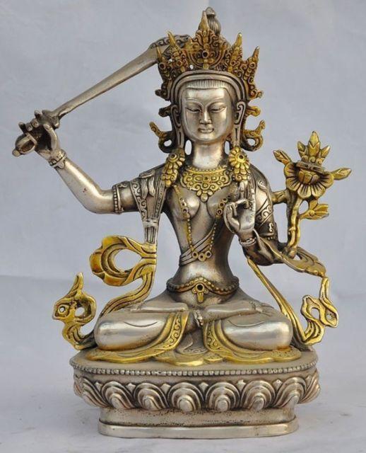 8.07 polegada/Elaborado Chinês Mão-Cinzelado Tibetano Tara Estátua de Buda de Prata Dourada