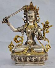 8.07 inch/Chinese Hand-Carved Tibetan Silver Gilded Tara Buddha Statues