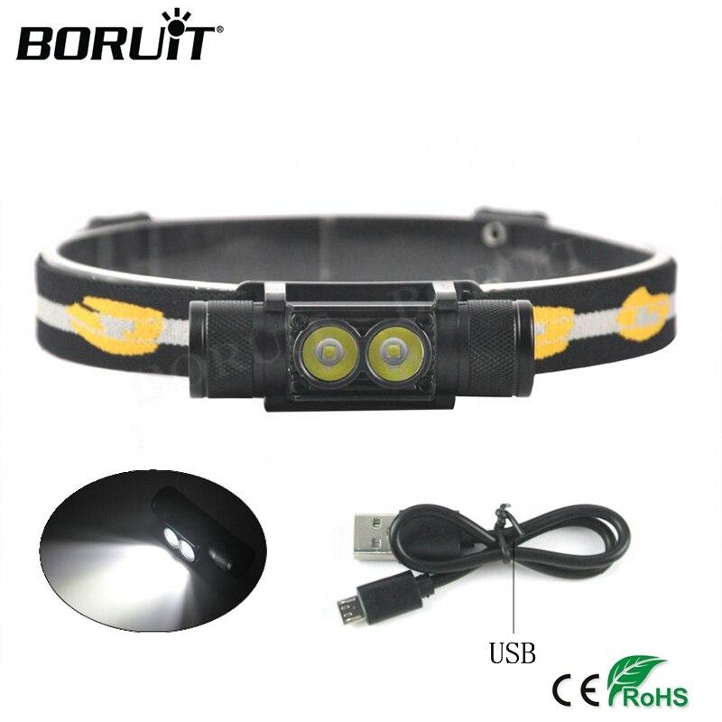 BORUiT XP-G2 LED Mini Faro-Mode USB Ricaricabile Del Faro di Campeggio Torcia Elettrica di Caccia Frontale Testa Della Torcia da 18650