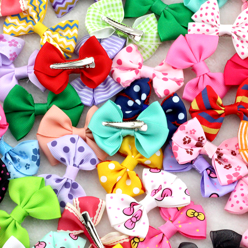 10Pcs 2.5Inches Lovely Baby girls Small Top hairbows Grosgrain Ribbon Bows hair clips Little Mini hairpins for Children headwear