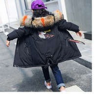 Girls Winter Coat 2018 Big Real Fur Hooded Embroidery Long Parkas for Teenage Girl Kid Girl Winter Jacket 12 years
