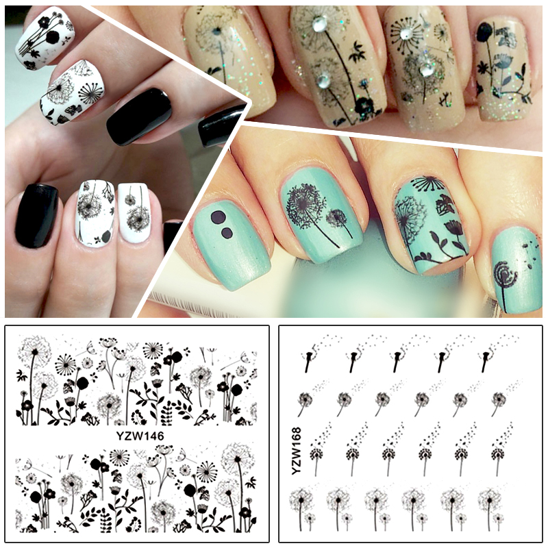 купить ZKO 2 Patterns/Sheet Flying Dandelion Nail Art Water Decals Transfer Sticker YZW146&168 дешево