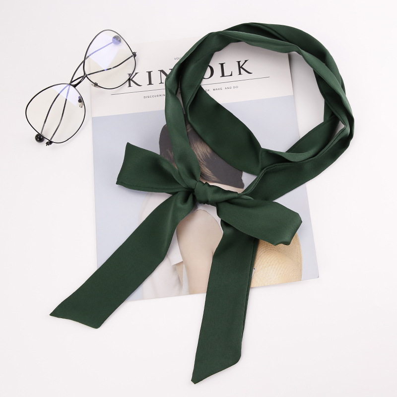 Korea Autumn Winter Women Slender Narrow Scarf Sweet Beauty Small Belt Hair Band Tied Bag Ladies Solid Ribbon Streamer