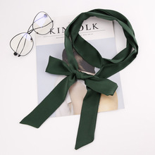 Korea Autumn Winter Women Slender Narrow Scarf Sweet Beauty Small Belt Hair Band Tied Bag Ladies Solid Ribbon Streamer