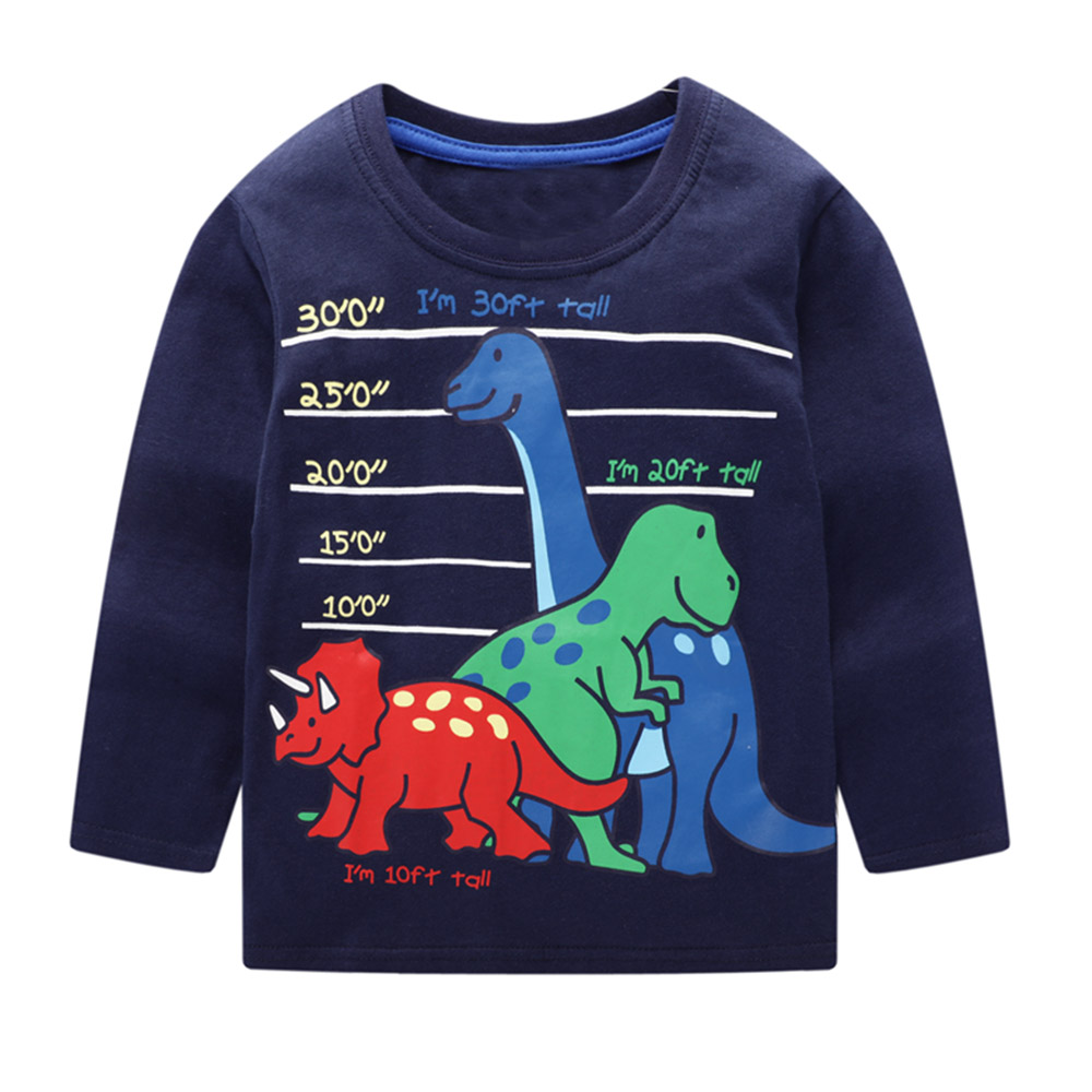 Boy <font><b>Tshirt</b></font> <font><b>Dinosaur</b></font> Shirt 2019 Long Sleeve Cotton Baby Boys Clothes Cartoon Unicorn Appliqued Clothes Tee Shirt Garcon 2-7Years image
