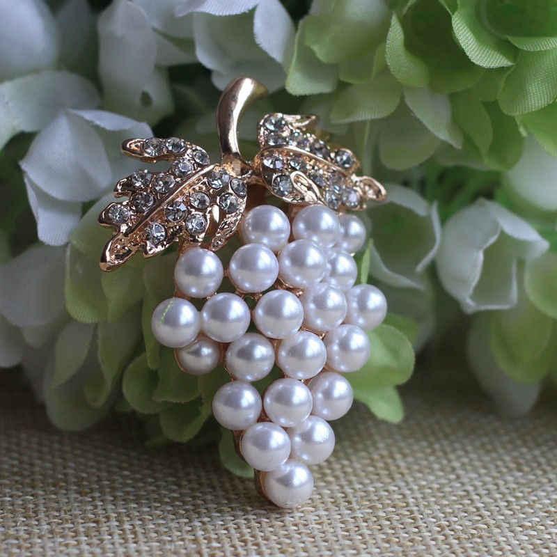 Uva Spille Sciarpa Fibbia Spilli Oro-colore Imitazione Perla Spilla di Strass Per La Cerimonia Nuziale Abiti Da Sposa Clip