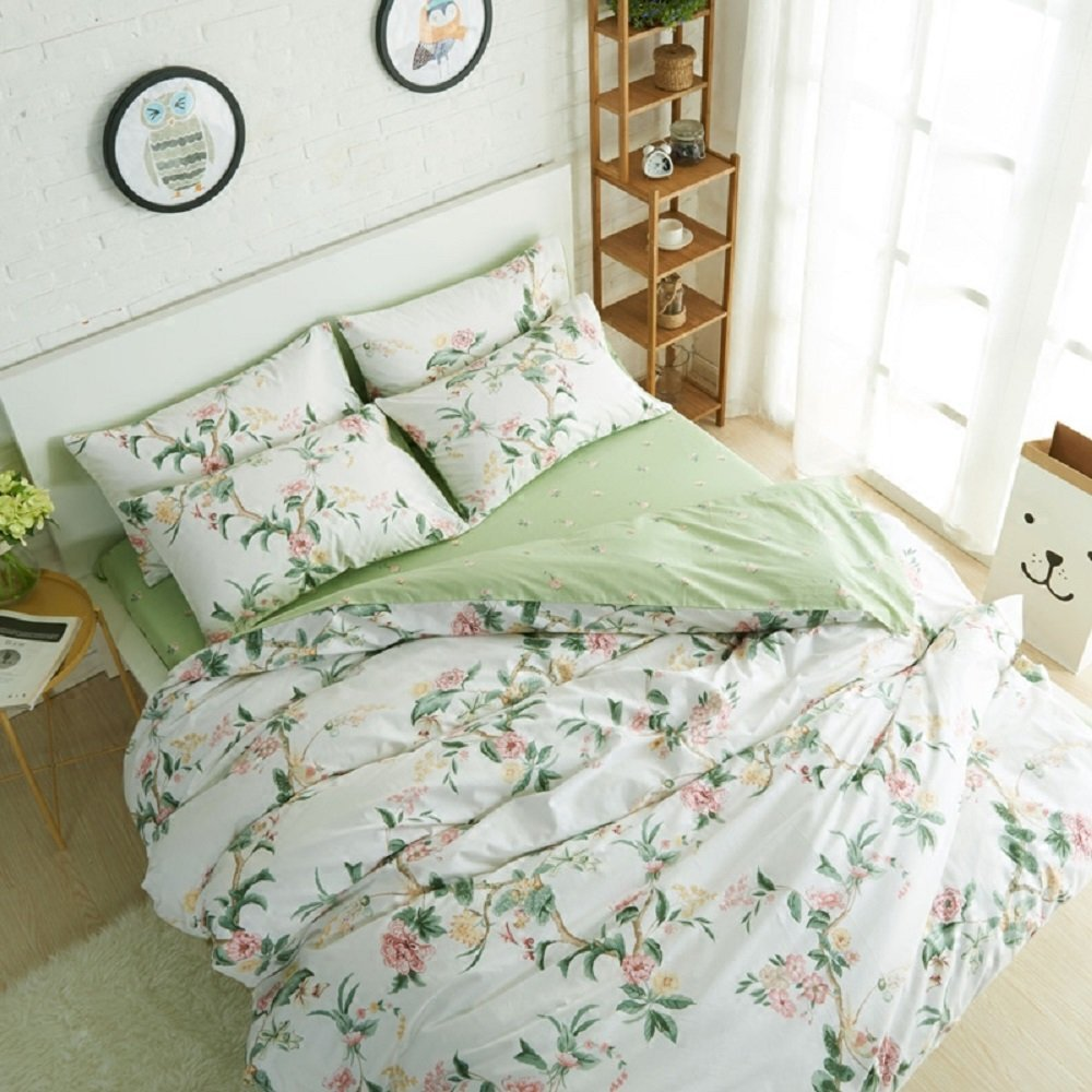 WINLIFE Rustic Floral Bedding Set 100% Cotton Duvet Cover Set American  Country Style Bedding Collections