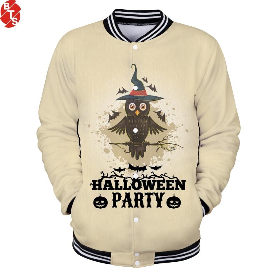 2018 Halloween Berretto Da Baseball Giubbotti Donne/uomini 3d Stampe Di Moda Di Stile Streetwear Giubbotti Halloween Casual Da Baseball Giubbotti Più Il Formato