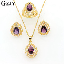 GZJY Wedding Bridal Party Jewelry Pure Gold Color Purple Green Crystal Zircon Pendant Necklace Earring Ring Set For Women I11-2