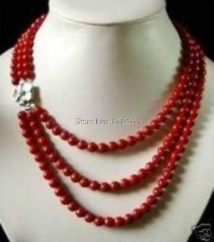 ! Fashion DIY Jewelry 3 Rows 6mm Red Coral Necklace  17-19