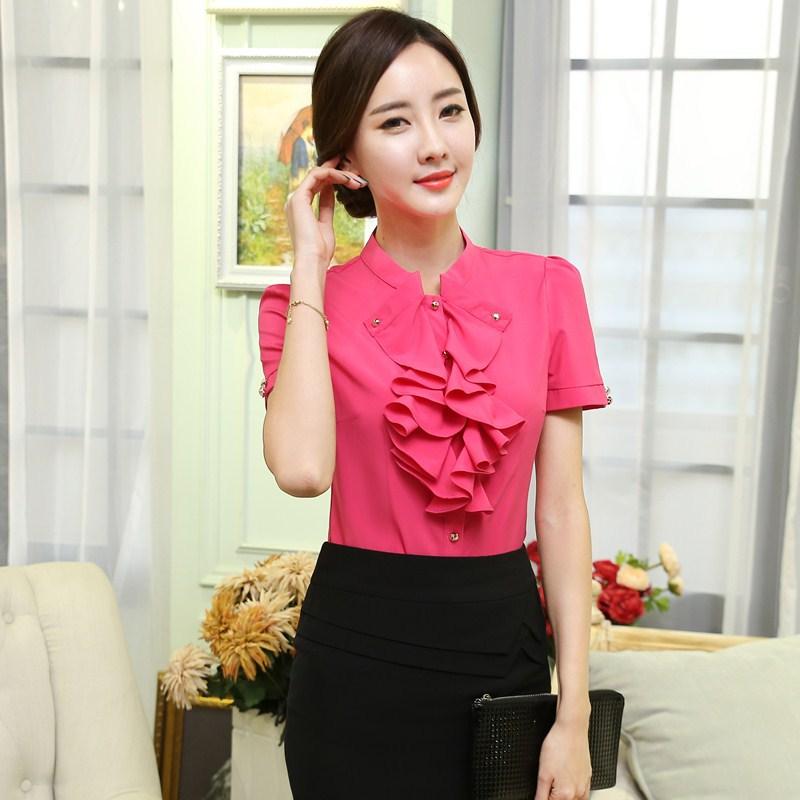 New Elegant Rose Chiffon Blouse Business Women Uniform