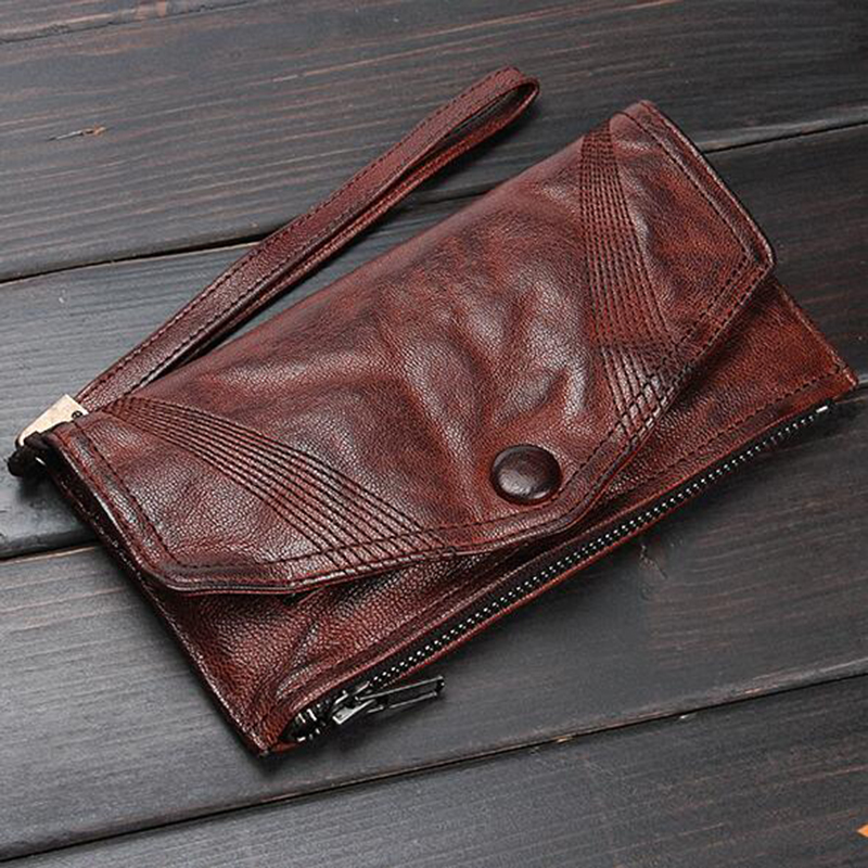 GUMST Top qualité en cuir véritable Long hommes portefeuille rétro mince sac à main Original fait main porte-cartes portefeuille pochette bracelets