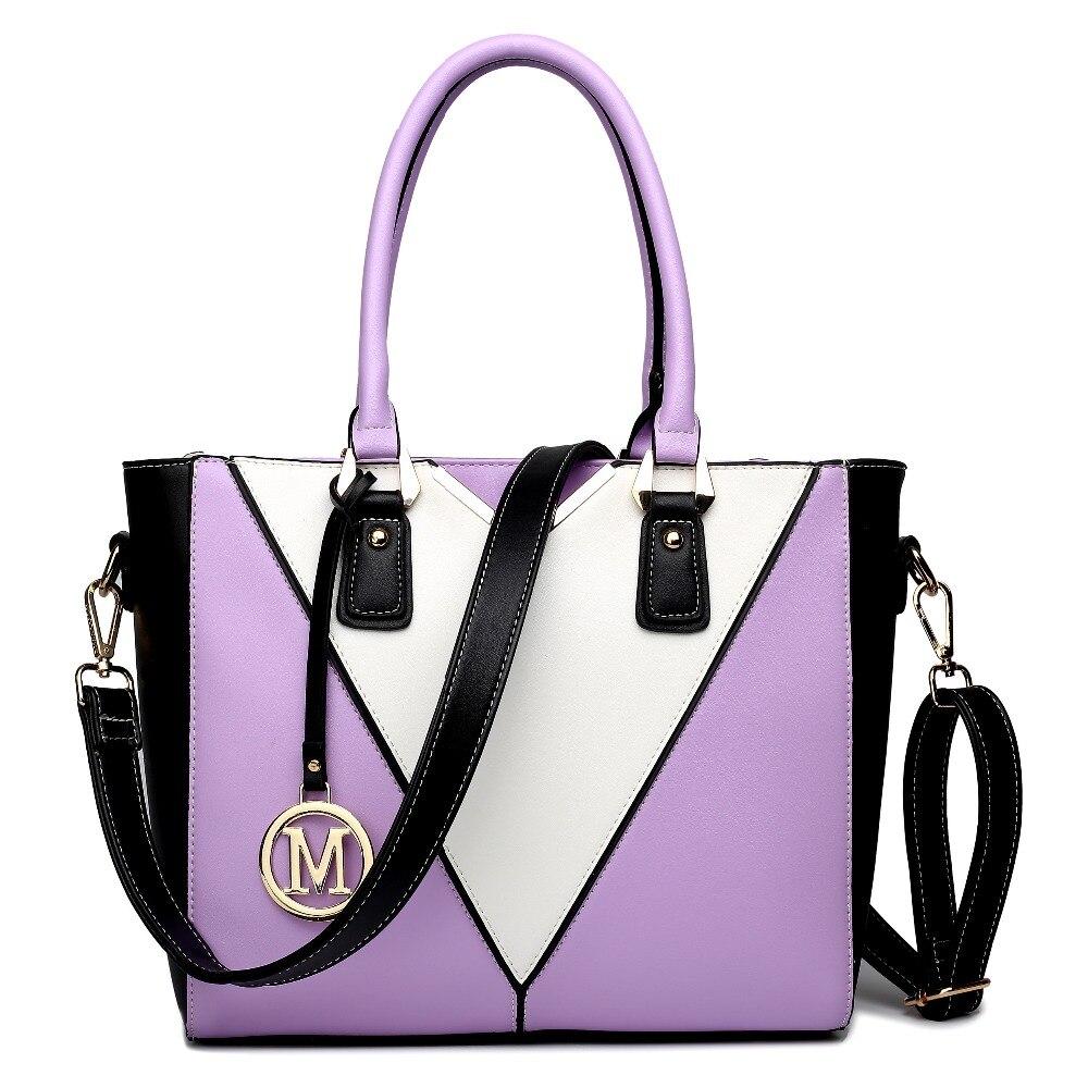 Women PU leather structured shoulder bag with white V-shape front Medium Style Handbag Messenger Cross Body  Satchel Tote Bag