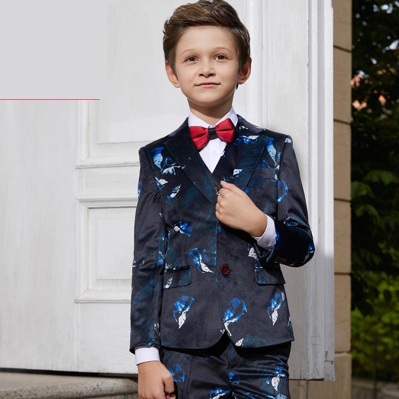 sale retailer cc6ff 2f069 5 stücke kinder Dresse anzüge Jungen herren Anzug jacke Englisch Nudeln  Gedruckt blazer große kind größe 110- 160