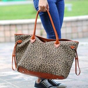 Image 4 - Nam Hot Bán Hàng Leopard Phụ Nữ Canvas Túi Xách Phụ Nữ Lớn Tote Giản Dị Túi Phù Dâu Quà Tặng Có Thể Được Thêu