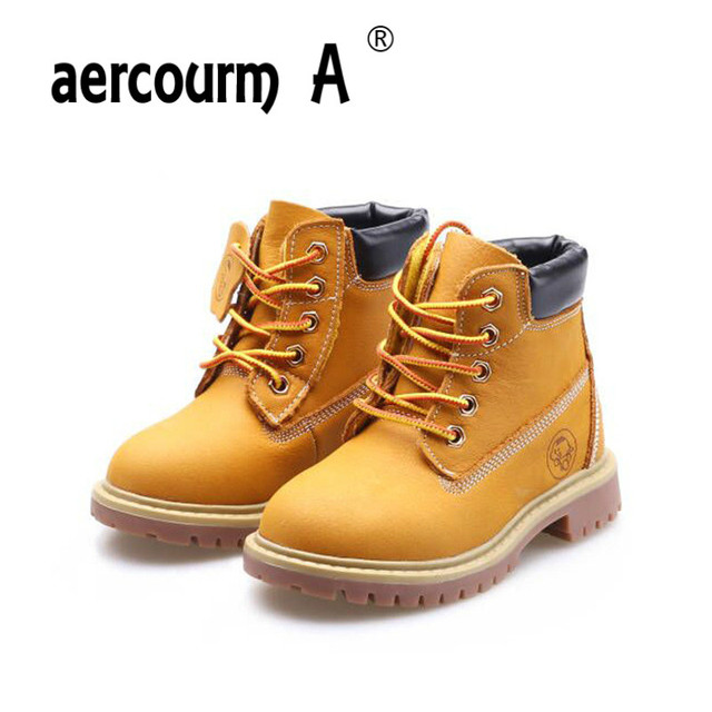 2e5e443a7be59 Aercourm A 2017 Boys Boots Winter Cowhide Shoes BoysPlush Yellow Boots High  Quality Genuine Leather Boots Square Toe Shoes 21-37