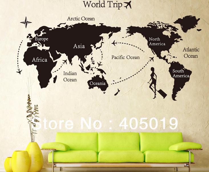 "giant 80x160cm (31""x63"") jm7225 black world map wall sticker world"