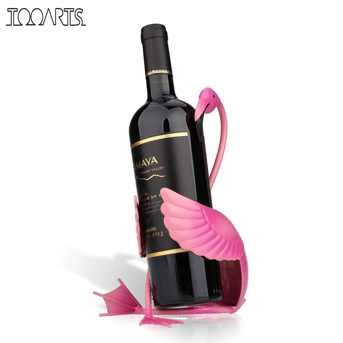 Support de bouteille de vin flamant rose Tooarts étagère à vin Figurine en métal Figurine pratique casier à vin pour bouteille bureau décor à la maison artisanat