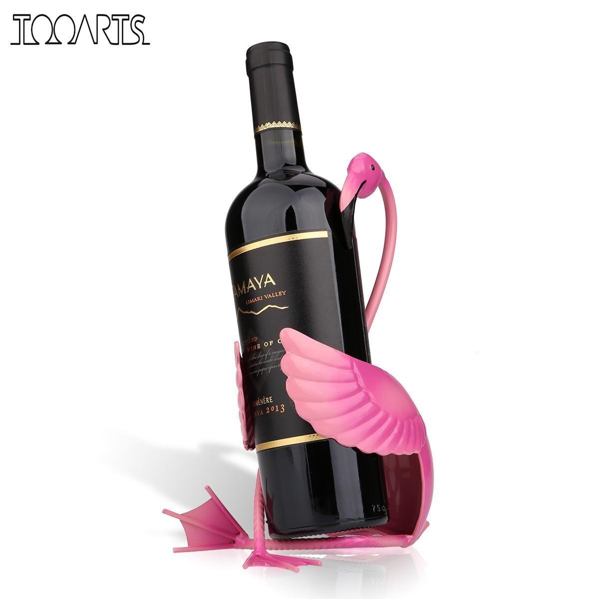 Tooarts Flamingo Wein Halter Wein Regal Metall Figurine Praktische Figurine Wein Rack Für Flasche Büro Wohnkultur Handwerk
