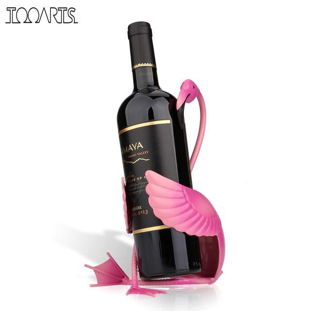 Tooarts Flamingo Wine Holder Wine Shelf Metal Figurine Practical Figurine Wine Rack For Bottle Office Home Decor Craft
