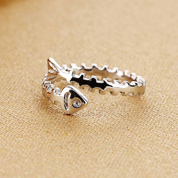 Real 925 Sterling Silver - Men /& Women Sizes Tested Material CH Inspired Style Fish Bones Style Ring