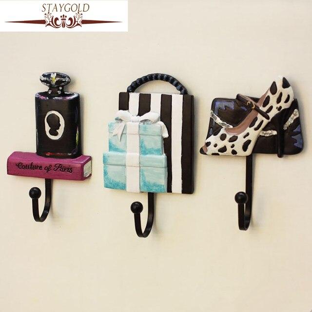 Staygold Kawaii Creative High Heels Hook Wall Bathroom Accessories Hooks Decorative Hanger Vintage Home Decor 3pcs Set