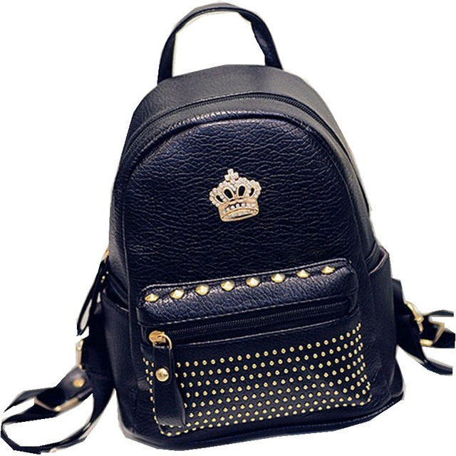 New Arrival 2016 Fashion Women's Backpacks Leather Small Mini Backpack Crown Design Rivet Shoulder Bags Lady Women Bag Promotion