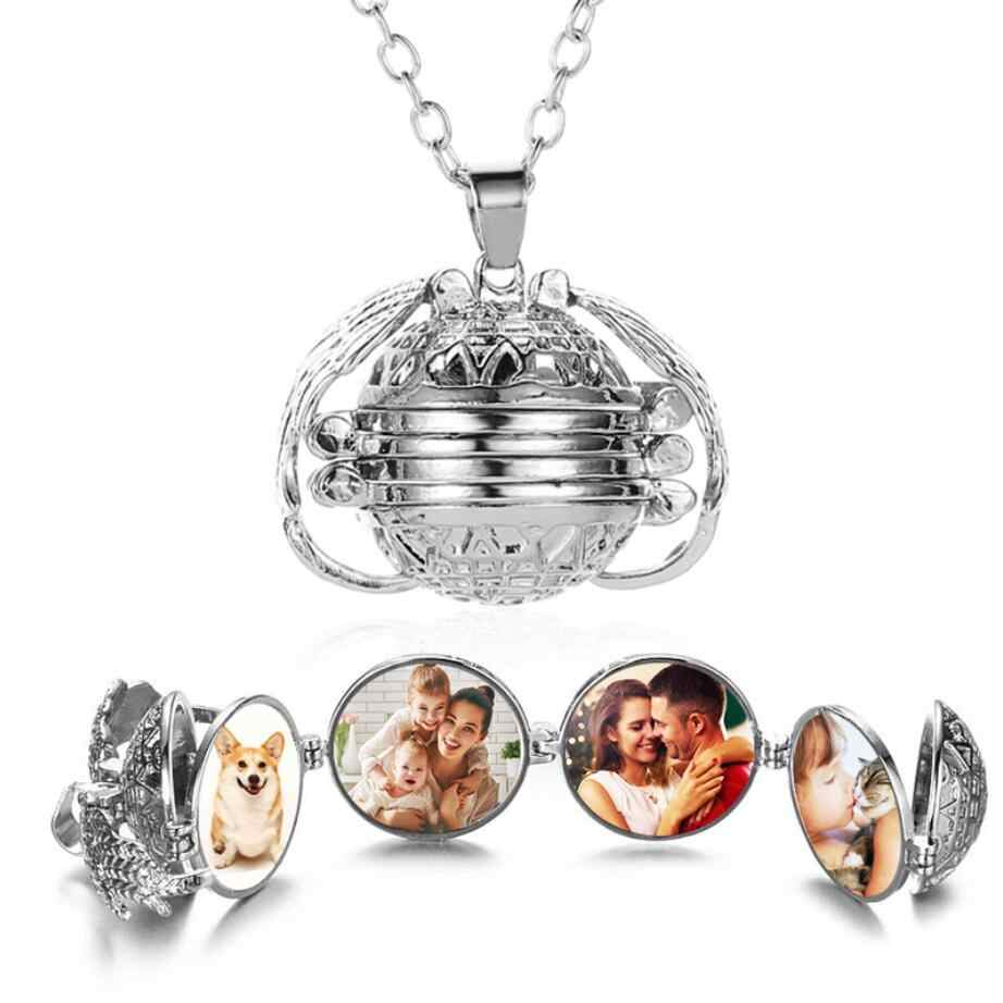 Expanding Photo Locket Necklace Pendant Choker Angel Wings Jewelry Decoration Necklace Exquisite Ornaments Torque Pendant Gifts