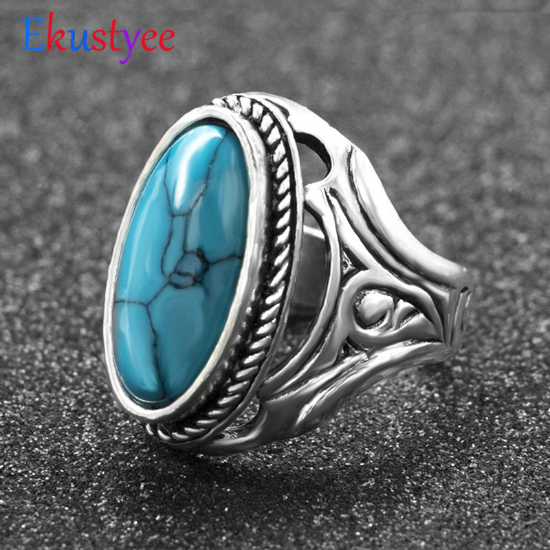 Stone Rings Turkish-Ring Wedding-Jewelry Tibetan Vintage Hollow Women Silver-Plated