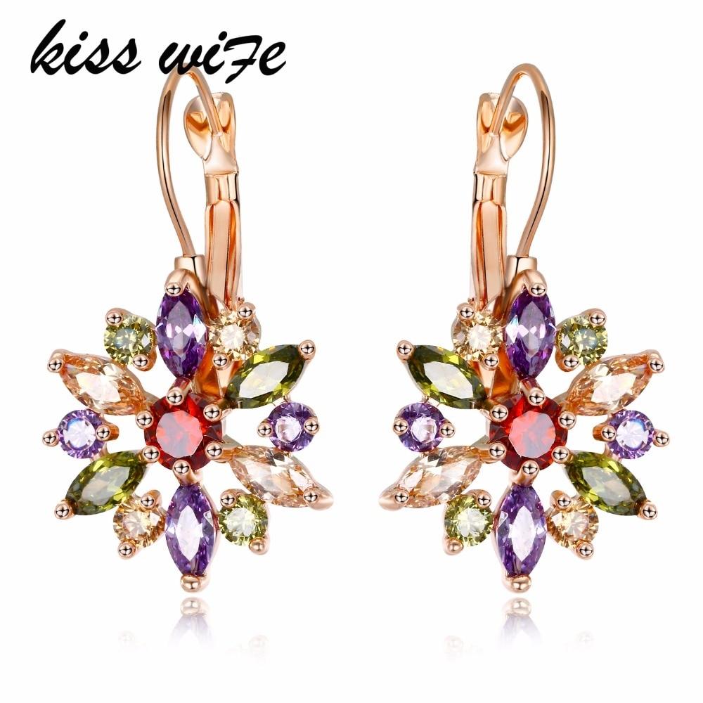 KISS WIFE 2018 Luxury Gold Color Flower Stud Earrings with Zircon Stone Women Birthday Gift Bijouterie