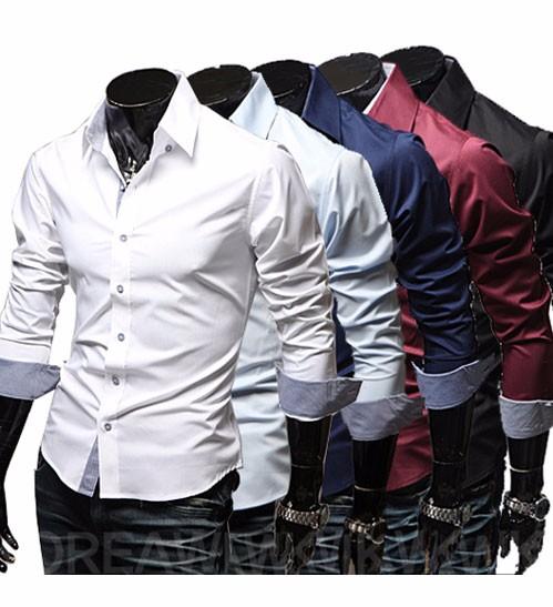 Mens Casual Shirts 2016 Hot Sale Mens Slim Fit Dress Long Sleeve Shirts Soild Male Social Shirts Designer Chemise Homme 3XL 25 3